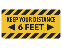 "FLOOR DECALS - KEEP YOUR DISTANCE 6 FEET 12""x12"""